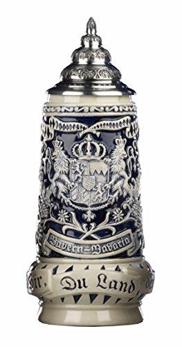King Boccale da Birra tedesco grigio Bavaria rusticale,stemma davanti, di lato Monaco di Baviera, Motto Dio con te, tu paese dei bavaresi 0,5 litri KI 393-SG 0,5L Bayern