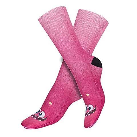 Funny Socks Damen Motive Festival Cool Blogger Füßlinge Style Allover Print Fullprint Sneaker Sportsocken Socken Onesize PINK MONSTER FACE (44768)