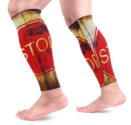 dfegyfr Stoppschild auf Grunge Holz Hintergrund Sport Waden Kompression Ärmel Bein Kompression Socken Wadenschutz für Laufen, Radfahren, Mater -
