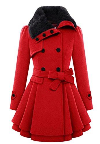OMZIN Damen Mid Long Einreiher Cowl Neck Losen Woolen Mantel Rot 2XS (Browning Stoff)