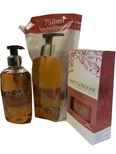 Abbott&Broome Handwash Set 1 x 300 ml + 1 x 750 ml Nachfüllpack Handwash + 3 x 60 g. Badekristalle mit orientalischem Zederholz