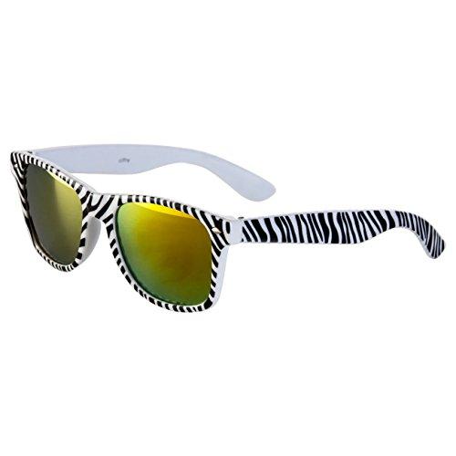 Ciffre Sonnenbrille Nerdbrille Nerd Retro Look Brille Pilotenbrille Vintage Look - ca. 80 verschiedene Modelle Viele Farben (Zebra-Feuerverspiegelt)