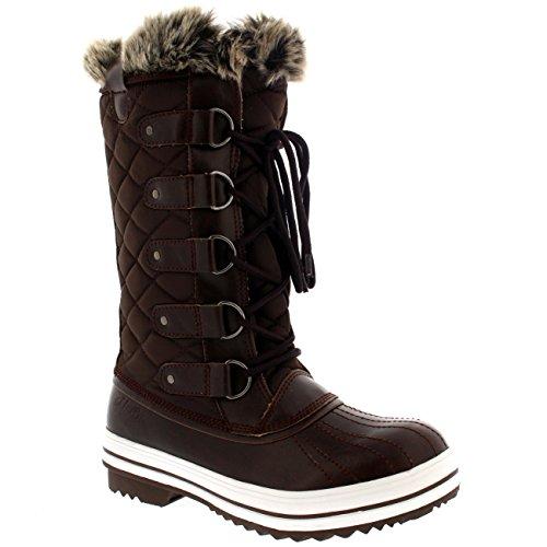 Damen Schnee Stiefel Nylon Tall Wasserdicht Gefüttert Regen Stiefel - Braun - 41 - CD0027