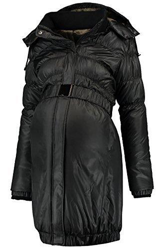 Love2Wait Damen Umstandsmode Jacken Mantel DOWN COAT Parker long Jacket schwarz M (38-40) (Long Für Jacken Frauen Down)