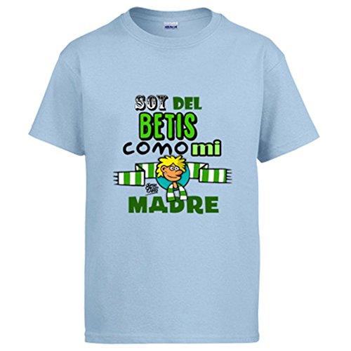 Diver Camisetas Camiseta Real Betis Soy del Betis Como Mi Madre - Celeste, L
