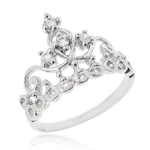 Sovats Damen CZ Kronen-Ring, Größe 58