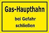 Melis Folienwerkstatt Schild - Gas-Haupthahn - 15x10cm | 3mm Hartschaum – S00070-082-C -20 VAR