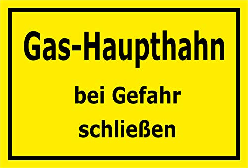 Melis Folienwerkstatt Schild - Gas-Haupthahn - 30x20cm | Bohrlöcher | 3mm Aluverbund - S00070-082-C -20 VAR -