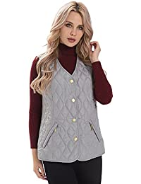 6adf4cdbf951 MSVASSA Womens Quilted Padded Gilet Ladies Body Warmer Plus Size Casual  Classic Vest Jacket 12-