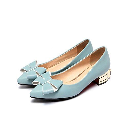 Chaussures Couleur Bas Unie VogueZone009 Talon Bleu Tire Légeres Verni Femme à Pointu 6q6wzpgY