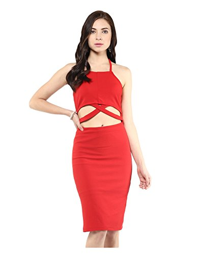 Yepme Cut-Out Bodycon Dress - Red -- YPMDRES0167_M