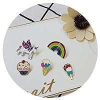 Cute Enamel Lapel Pin Set 5pcs Cartoon Unicorn Rainbow Broochs Badge Kawaii Pins Buttons for Clothes Hats Backpacks Nice Gifts for Women Girls Teen Children