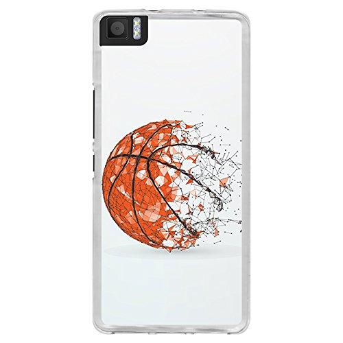 BJJ SHOP Transparente Hülle für [ BQ Aquaris M 4.5 / A 4.5 ], Flexible Silikonhülle, Design: Basketball Ball, abstrakt