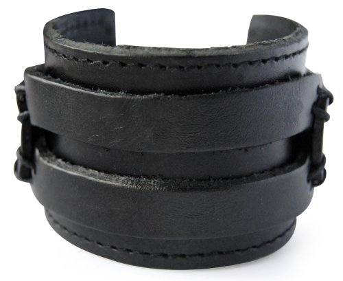 axy LAB1-1 LEDERARMBAND BREIT Serie! ECHT Leder Armband Vintage Leather Bracelet! Surferarmband Herren (Schwarz/Black)