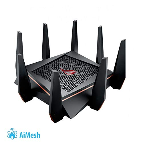 Asus ROG Rapture GT-AC5300 - Router Gaming Wi-FI Tri-Banda para VR y Streaming 4K, con 8 Puertos Gigabit, 2 Puertos Gaming, Radar Wifi, Gaming APP, Link Aggregation, Procesador Quad-Core, WTFast, QoS Adaptivo y Funciones de Seguridad AirProtection