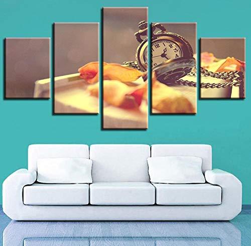 lianglianga Fünfteilig - Wanddekoration - Bild Auf Leinwand - Zum Aufhängen Bereit - Mehrteilig - Kunstdruck - Geschenk - B - Rahmen - Taschenuhr