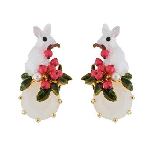 gyx Ohrringe Jade Emaille-Glasur Weihnachtshäschen Grünes Blatt Kleine Rote Frucht weißen Jade-Ohrringe 2.1cm lang