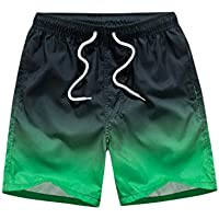 Pantalones cortos de verano para hombres con bolsillos Trajes de baño de secado rápido Con cordón elástico sueltos Trajes de baño Pantalones cortos de surf Pantalones cortos deportivos - Negro y verde 2XL