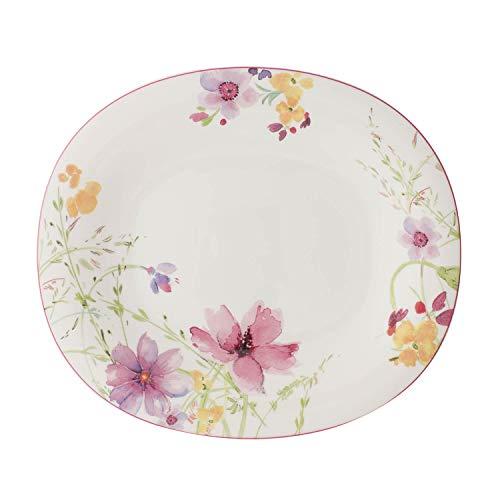 Villeroy & Boch Mariefleur Basic Ovaler Speiseteller, 29 x 25 cm, Premium Porzellan, Weiß/Bunt