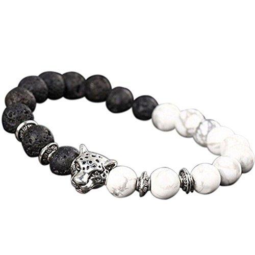 Landsell handgefertigt Herren Frauen Tier Perlen Natur Lava Stein 8mm Perlen Achat Armband