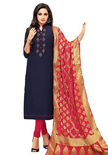 Akalors Salwar Kameez Damen Readymade Jam Silk Suit with Banarasi Silk Dupatta (Blau, 42) Patiala Suit