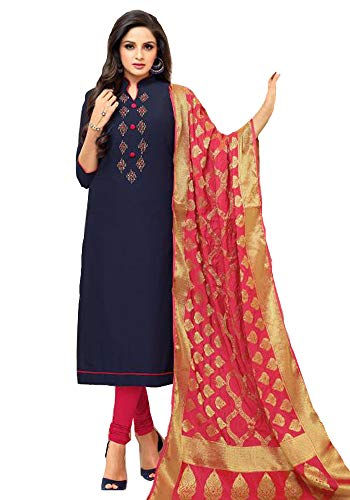 Akalors Salwar Kameez Damen Readymade Jam Silk Suit with Banarasi Silk Dupatta (Blau, 42) -