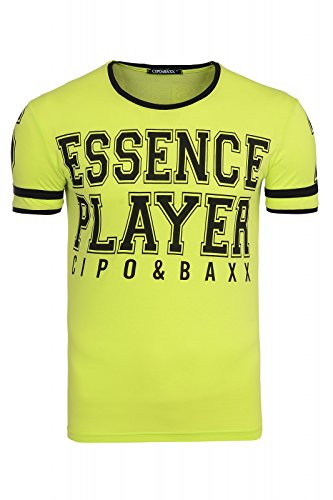 Cipo & Baxx Essence Player Shirt Herren T-Shirt Freizeitshirt Hellgrün C-5437 Grün