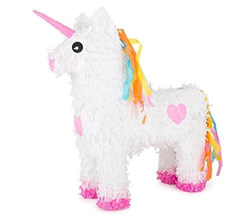 Michel Toys Piñata aus Krepppapier und Pappmaché, in Süßer Einhorn-Form, Kleine Öffnung zum Befüllen und Viel Platz Im Inneren für Kleinigkeiten Pinata, Pappe, Bunt, 39 x 13 x 46.5 cm