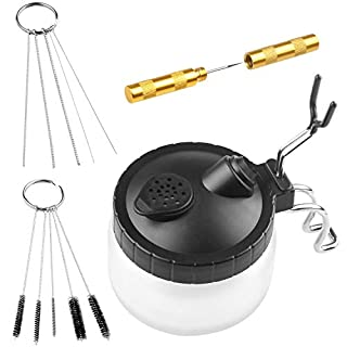 A+Selected Airbrush Cleaning Kit Airbrush Cleaner Set with Class Pot, Stainless Steel Holder, Needle and Brush Accessories | Airbrush Spray Gun Wash Cleaning Tool