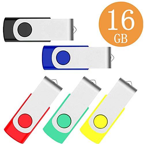 Memory Stick 5 Stück 16 GB USB 2.0 Swivel Design Flash-Laufwerke Thumb Drive Pen Drive (16 GB, Schwarz, Blau, Grün, Gelb)
