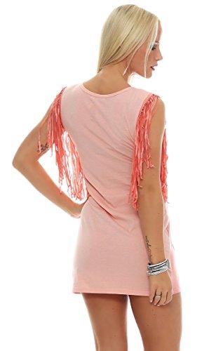 Fashion4Young - Robe - Sans Manche - Femme Gelb Multicolor saumon