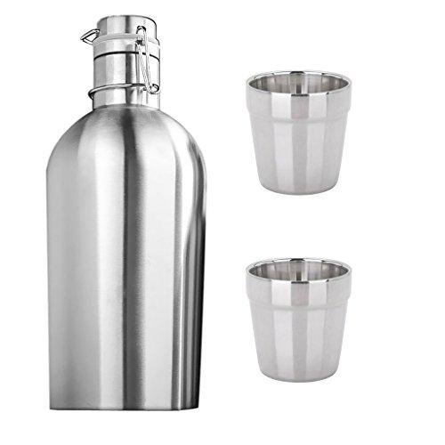 Baoblaze 2L Thermoflasche Trinkflaschen mit Flip-Top Deckel, inkl. 2 Stück 180ml Becher