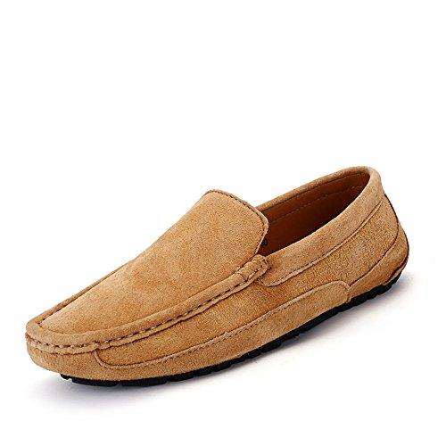 Männer Fahren Penny Loafers Handarbeit Nahtleder Wildleder Mokassins Bootsschuhe (Color : Braun, Größe : 9 MUS)