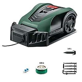 Tondeuse robot connectée Bosch – Indego S+350 (contrôle avec smartphone, largeur de coupe de 19cm, superficie jusqu'à 350m², avec accessoires)