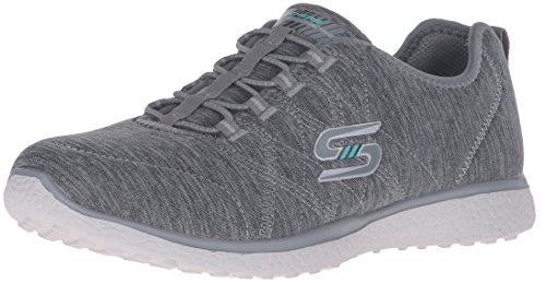 Skechers Sport Women's Microburst on The Edge Fashion Sneaker, Gray, 8.5 M US
