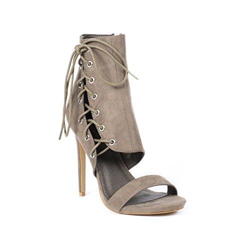 Ideal Shoes Sandales Effet Daim avec Empiècement Laiana Taupe