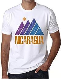 Hombre Camiseta Vintage T-Shirt Gráfico Mountain Nicaragua Blanco