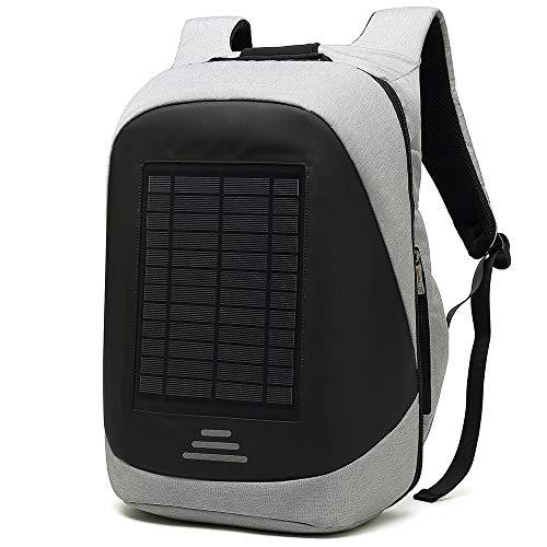 LCJ Laptop Rucksack/Laptop Rucksack, Laptop Rucksäcke für Männer Solar Charging Usbinterface Waterproof Outdoor Travel Business Bag,Gray