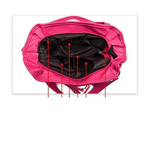 2017 Grande Capacità Morbida In Pelle Di Moda Spalla Women 's Retro Nappa Messenger Bag Borsa Delle Signore WatermelonRed