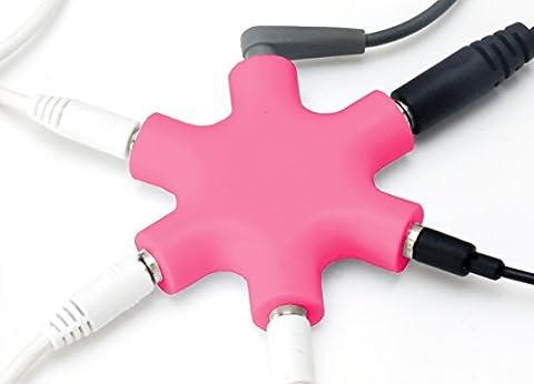 MyGadget 5-Fach Audio Splitter - 3,5 mm Aux Klinkenverteiler - Klinke Verteiler Kopfhörer Buchse für Smartphones, Laptops und PC in Pink