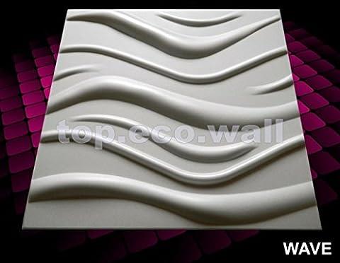 Nouveau plateau 3D un revêtement mural Carreaux Papier peint décoratif d'intérieur Panneaux (Lot de 48) 12 m² Motif vague 3D