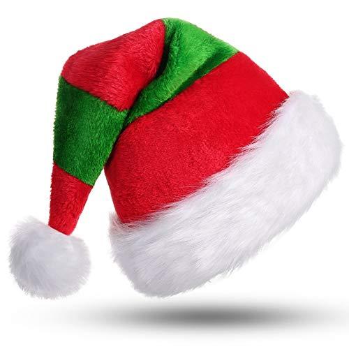 CITÉTOILE Weihnachtsmütze, Unisex-Erwachsene Weihnachtsmütze Deluxe Velvet Father Dekorationen Geschenke Kostüm für Weihnachtsfeier Halloween Neuheit Stripe Rot & ()