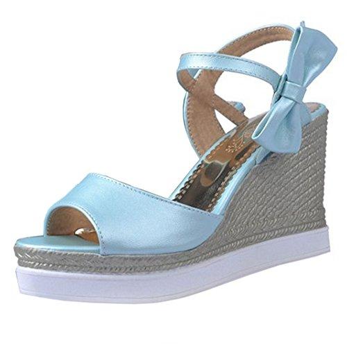 COOLCEPT Femmes Mode Confortable Talon Compenses Sandales Orteil ouvert Peep Toe Chunky Sangle de Cheville La marche Chaussures Bleu