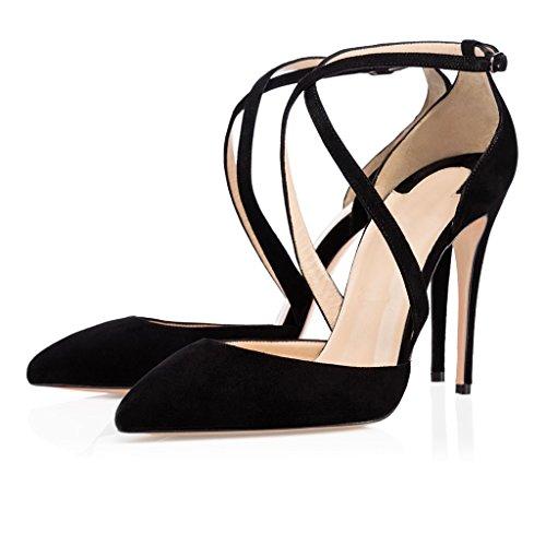 EDEFS Damenschuhe High Heels Pumps Stiletto Wildleder Absatz Cross Strap Schuhe mit Schnalle Schwarz