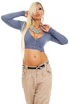 10102 Fashion4Young Damen Feinstrick-Bolero V-Ausschnitt Jacke Jäckchen verfügbar in 13 Farben Gr. 34/36/38 (One Size (34 36 38), Grau/Blau)
