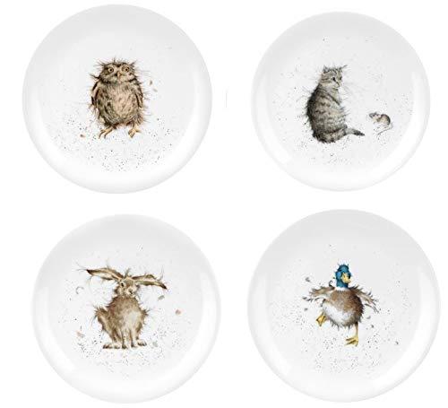 Wrendale Designs Royal Worcester Wrendale Designs Coupe-Teller Eule Entenhase und Katze, 4 Stück Royal Coupe