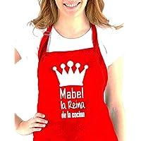 """Delantal cocina personalizado con la frase:"""" (nombre) el Rey de la cocina, (nombre) la reina de la cocina"""". Varios colores. Regalo SOLIDARIO. Hecho en España"""
