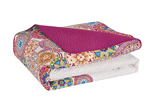 DecoKing 77160Couvre-lit Double Face, Polyester, Violet Blanc, Polyester, Violet/Blanc, 240 x 260 cm