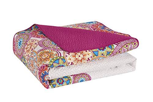 DecoKing 77177 Tagesdecke 220 x 240 cm rosa violett weiß bunt anthrazit Bettüberwurf zweiseitig Colourful pink White Violet Steppung Bibi