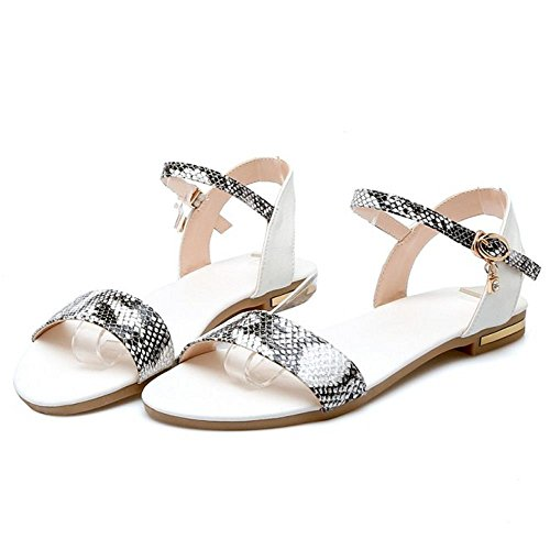 COOLCEPT Damen Mode-Event Slingback Sandalen Open Toe Animal Print Shoes White